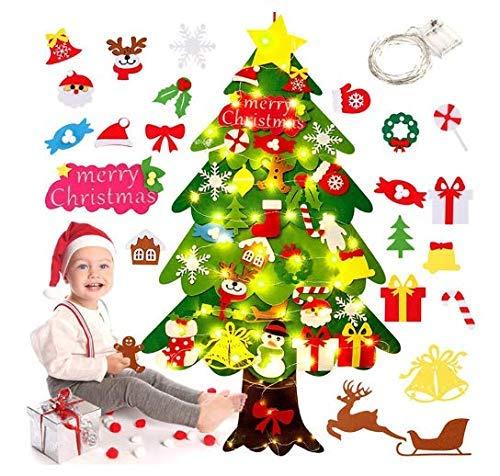 Albero di Natale in Feltro,Felt Christmas Tree,Feltro Albero Natale in Velcro,Ornamenti Staccabili in Feltro da Appendere,Albero di Natale Bambini con 34 Pezzi Decorazioni, LED Catene Luminose (D)