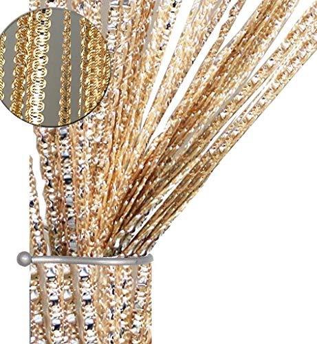 AIZESI Gardinen Vorhänge Wohnzimmer Schlafzimmer, SchiebeVorhänge Blickdicht Glitzer, Fadenvorhang Fadengardine 90x200cm Fadenstore Vorhänge Vorhang Fenstervorhang(Champagne)
