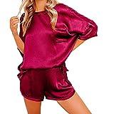 N\P Conjunto de pijamas de dos piezas, ropa de dormir suelta y informal, ropa de casa, pantalones cortos de manga corta, ropa de dormir rojo XXL