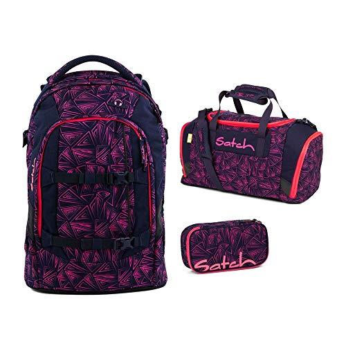 Satch Pack Schulrucksack-Set 3tlg: Schulrucksack, Schlamperbox und Sporttasche (Pink Bermuda)
