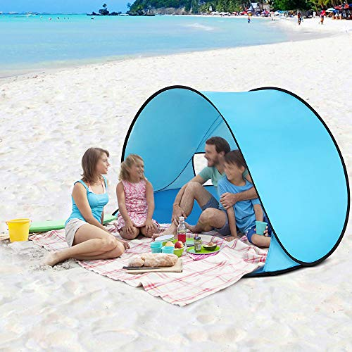 Walmeck- Instant Pop Up Tent Baby Beach Tent Cabana Portable Anti UV Sun Shelter for Camping Fishing Hiking