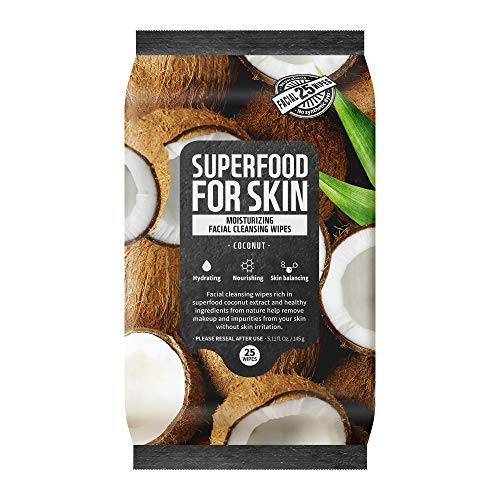 FARMSKIN Superfood For Skin Facial Cleansing Wipes Makeup Daily Remover Quick and Easy Moisturizing Coconut, 25 count