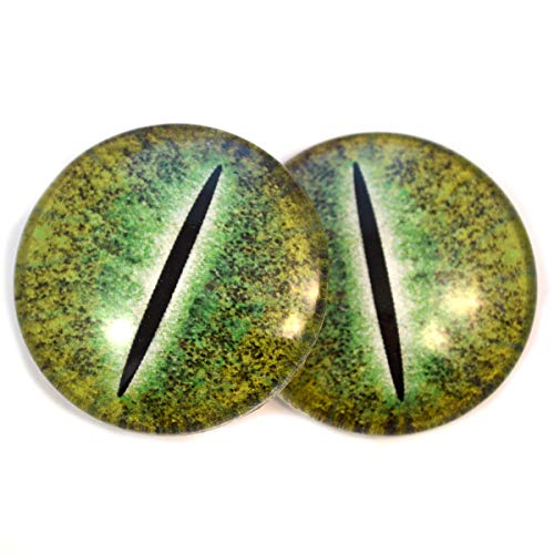 Green Dinosaur Glass Eyes Dragon Reptile Art Dolls Taxidermy Sculptures or Jewelry Making Cabochons Crafts Matching Set of 2 (40mm)