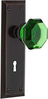 Nostalgic Warehouse 725818 New York Plate with Keyhole Privacy Waldorf Emerald Door Knob in Timeless Bronze, 2.375