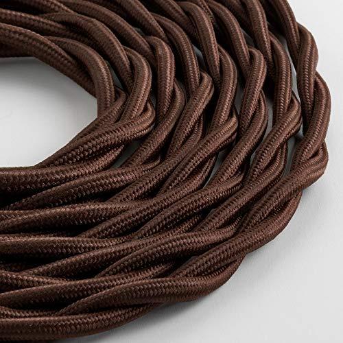 Klartext – Cable textil trenzado luminoso TV/LAN, marrón, 10 m. Atención: cable...