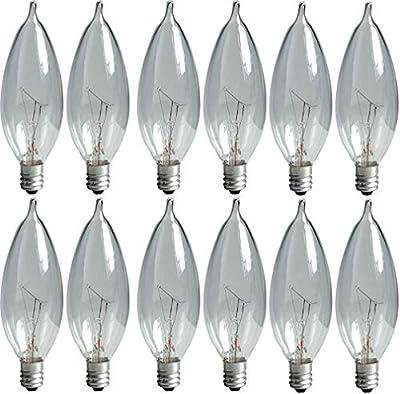 GE Crystal Clear Bent Tip Decorative Light Bulbs (40 Watt), 370 Lumen, Candelabra Light Bulb Base, 12-Pack Chandelier Light Bulbs