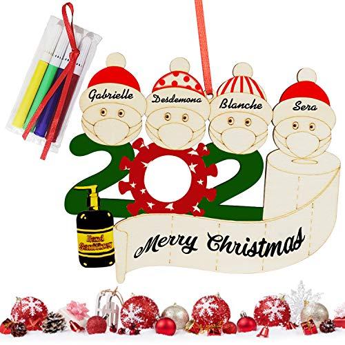2020 Adorno de Navidad con nombre personalizado, colgante de manualidades de madera, decoración de árbol familiar de supervivientes de cuarentena, regalos creativos de Navidad, familia de 4
