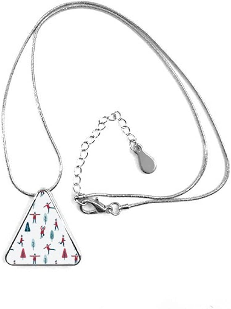 Colorful Sport Skate esquí ilustración triángulo forma colgante collar joyas con cadena decoración regalo