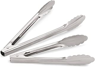 Artisan 2-Piece Professional Grade Stainless Steel, Spring-Loaded Tong Set with 9 and 12-Inch Tongs