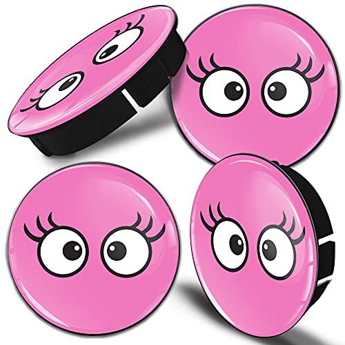 Biomar Labs 4 x 60mm Universal Tapas de Rueda de Centro Tapacubos para Coche Pestañas De Ojos Rosados C 17