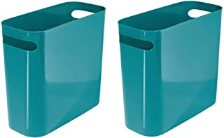 mDesign Slim Rectangular Small Trash Can Wastebasket Garbage Container Bin with Handles for Bathrooms Kitchens Offices Dor...