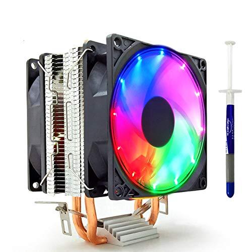 ZHIFDNJ Ventilador de CPU Ultra silencioso disipador de calor compacto de doble tubo de cobre para ranuras Intel y AMD