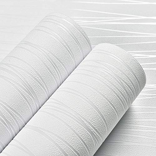 Selbstklebende atmungsaktive Tapete 3D ländliche Tapete einfaches Schlafzimmer Wohnzimmer TV Hintergrund Wand-53 * 1000cm_creamy-weiß