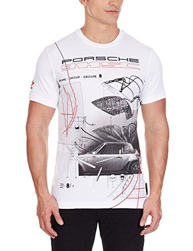 adidas Originals X Porsche Design Herren Shirt 911 SC Turbo Graphic Tee Weiß, Größe:S, Farbe:Weiß