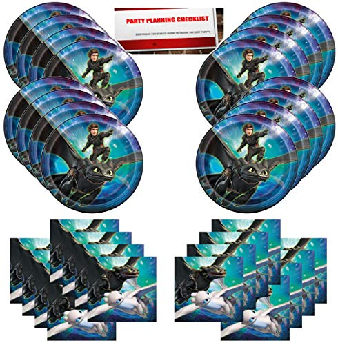 How to Train Your Dragon Birthday Party Supplies Bundle Pack for 16 Guests (Plus Party Planning Checklist by Mikes Super Store)