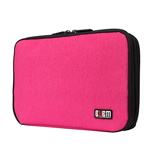 BUBM Travel Cable Organizer, Universal Electronic Accessories bag Gear Storage Bag for Cord, USB Flash Drive, Earphone and more, Perfect Size for iPad Mini (Medium, Rose Red)