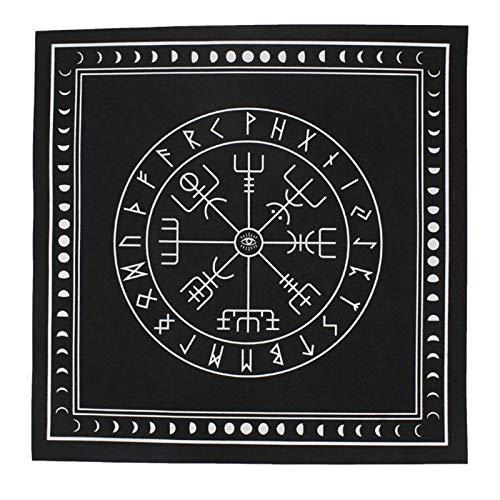 HUNYUAN-LF 50 * 50cm No Tejida Mantel para Tarot Runa Adivinación Altar Parche Tarot Cubierta De Tabla (Color : 7HH402208 BK)