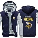 Sweat À Capuche NFL Football Américain Minnesota Vikings Jersey Pull Plus Velvet Rugby T-Shirt À Manches Longues Imprimer Capuche Décontracté Et Confortable Gros Pull,B,6XL