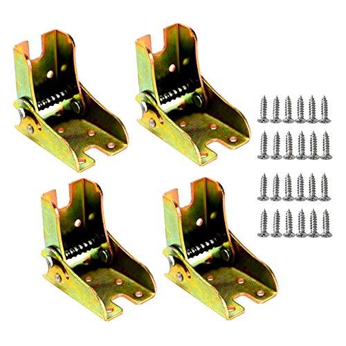 Soporte plegable con bisagras y refuerzos para patas plegables, mesa de trabajo plegable, extensión de mesa plegable (4 piezas)