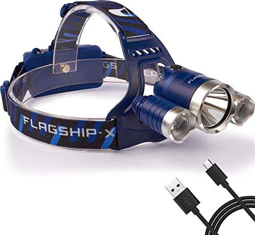 Flagship-X Nighthawk Rechargeable 6000 Lumen IPX4 Waterproof LED Camping Headlamp Flashlight for Running - Blue