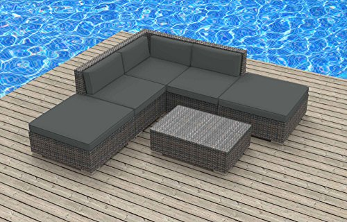 Hot Sale Urban Furnishing - BALI 6pc Modern Outdoor Backyard Wicker Rattan Patio Furniture Sofa Sectional Couch Set - Charcoal