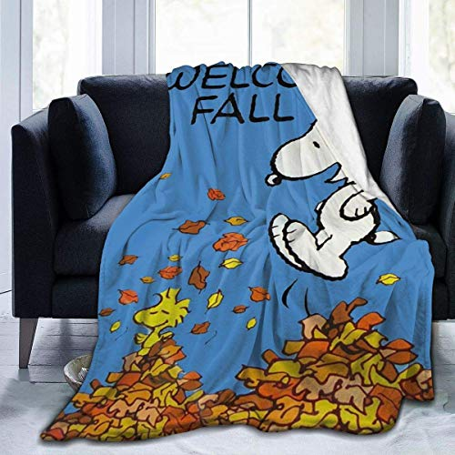 Welcome Fall Snoopy Ultra-Soft Flannel Blanket -SoftHeat, Easy Care,All Season Premium Bed Blanket,Three Size for Choose
