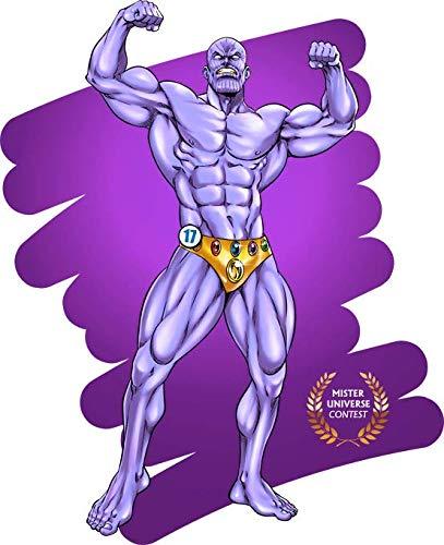 Okiwoki T-Shirt Noir MCU parodique Thanos : Concours Mister Universe - Les Rois de la gonflette - Candidat 17 (Parodie MCU)