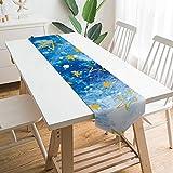Free Brand Camino de mesa de 177,8 x 33 cm, universo espacial azul con patrón de estrellas nubes, decoración de mesa para bodas, diseño de mantel, decoraciones al aire libre picnics mesa de comedor