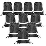 Black Drawstring Backpack Bags Reflective 10 Pack, Promotional Sport Gym Sack Cinch Bag (Black)