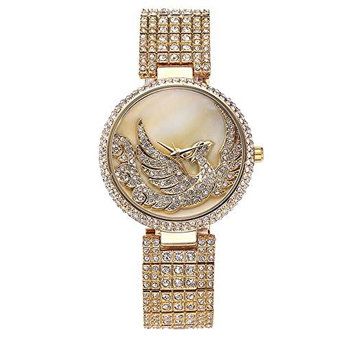 KLFJFD Reloj De Cuarzo Impermeable con Diamantes De Imitación De Pájaro Fénix Creativo De Lujo Ligero para Mujer