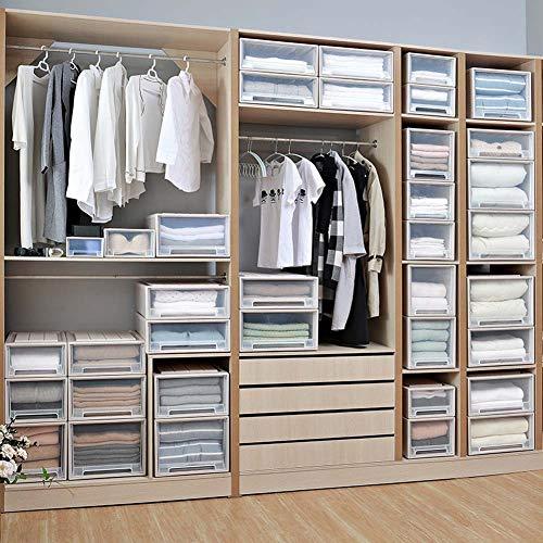 Homieco Stapelbar Box Brust Kunststoff Transparent Schublade Einheit Veranstalter Kleiderschrank Speicher Boxen, Large/White