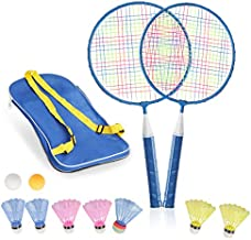 STSTECH Badminton Rackets for Children,12 in 1 Shuttlecocks Racquet Sports Set w/Lightweight Carrying Bag for Kids Professionals Beginner Players Indoor Outdoor Sport Game (BLUE-01)