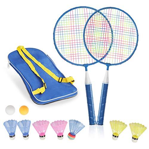STSTECH Badminton Rackets for Children,12 in 1 Shuttlecocks Racquet Sports Set w/Lightweight Carrying Bag for Kids Professionals Beginner Players Indoor Outdoor Sport Game