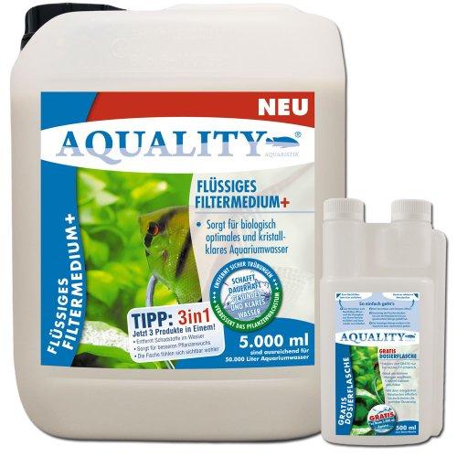 AQUALITY Flüssiges Aquarium Filtermedium+ (GRATIS Lieferung in DE - Kristallklares Aquariumwasser - Entfernt Schadstoffe - Besserer Pflanzenwuchs - Wasseraufbereiter - Wasseraufbereitung), Inhalt:5 Liter