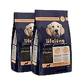 Marque Amazon - Lifelong Aliment complet pour chiens de races moyenne et grande sans céréale élaboré avec de la viande fraîche de poulet - 5kg*2