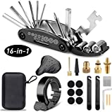 Hook Kit de Herramientas para Bicicleta, [16 Set/Aleación, Alta Dureza] Kit Pinchazos Bici (Black)
