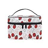 HaJie - Bolsa de maquillaje de gran capacidad, diseño de rayas geométricas animales mariquitas de viaje, portátil, neceser, bolsa de almacenamiento, bolsa de lavado para mujeres y niñas