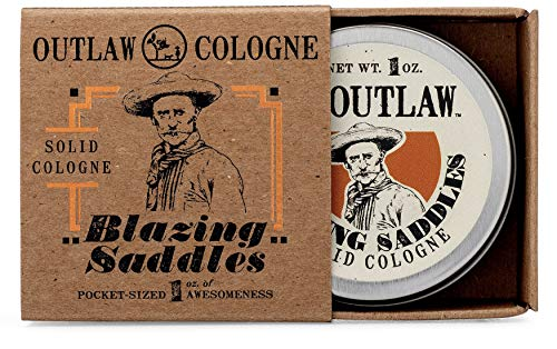 Outlaw Blazing Saddles Solid Cologne - The Sexiest Cologne Ever - 1 oz - Western Leather, Gunpowder, Sandalwood, and Sagebrush in a Pocket-sized Tin - Men's or Women's Cologne