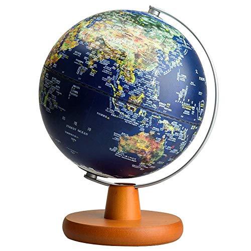 木製のスタンドで照らされた地球儀と教育の地球儀と子供のための LED ライト デスクトップ装飾クリエイティブ誕生日ギフト