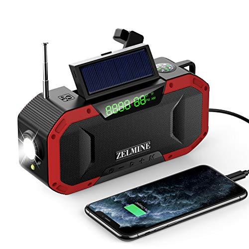 Wind Up Radio, Emergency Solar Powered Radios Bluetooth Speaker, Portable...