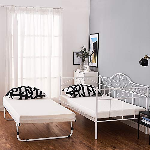 2 Styles Metal Bed Frame Day Bed 3ft Single Sofa Guest Bed Black/White New (Style2 Daybed+Trundle, White)