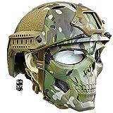 AQzxdc Juego de Casco Táctico Rápido, con Máscara Facial Completa de Resistencia Al Impacto Militar, para Paintball CS BBS Gun Shooting Game Cosplay Party,Camo,L
