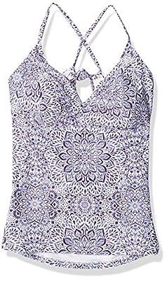 Jessica Simpson Women's Mix & Match Nile Print Swimsuit Separates (Top & Bottom), X Back Tankini Top, M