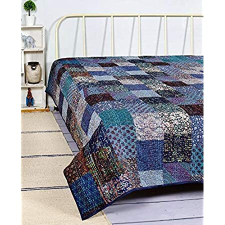 Beach Throw Bed Cover Spread Bedding Gudri Sari Throw Home Decorative Ethnic Blanket Indian Vintage Twin Size Reversible Kantha Quilt