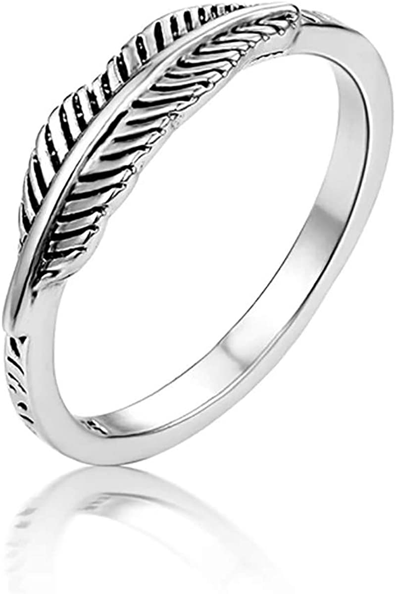 Feather Leaf Simple Dainty Ranking TOP5 Boho Ring Sizes Silver Sterling Al sold out. Midi