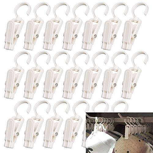 VintageBee 20 PCS Super Strong Plastic Home Travel Swivel Hanging Laundry Hooks Clip - 43 Inches White