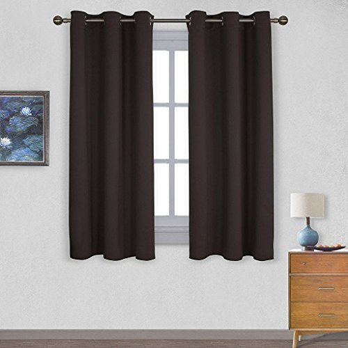 NICETOWN Triple Weave Microfiber Energy Saving Thermal Insulated Solid Grommet Blackout Curtains for Bedroom (1 Pair, 42 inches by 63 Inch, Toffee Brown)