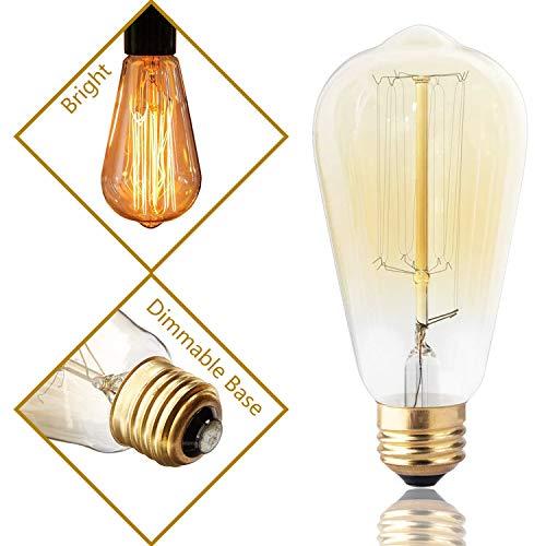 DSYJ DSYJ-515182 Antique Filament Light Bulbs 60Watt Decorative Light Bulbs E26 Base Dimmable Amber (Warm) 1Pcs