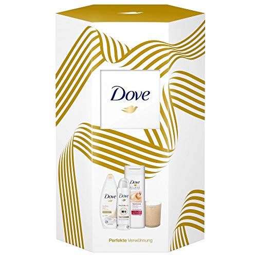 Dove Geschenkset Perfekte Verwöhnung für gepflegte Haut mit Duschgel, Deospray, Body Lotion und Duftkerze (250 ml + 150 ml + 400 ml)