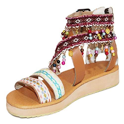 Sandalias étnicas Bohemias para Mujer Rebordear Confort Zapatos de Muffin de Vacaciones en la Playa Bombas de Plataforma de Gladiador Pisos con Correa de Tobillo con Cremallera